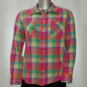 Merona Colorful Plaid Long Sleeve Cotton Shirt, XL